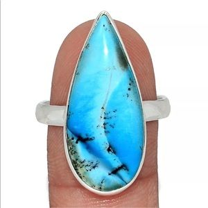 Jewelry - Marine Blue Dentritic Opal Silver Ring size 10.5